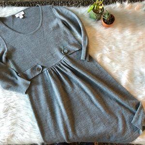 Loft Grey Knit Sweater Dress